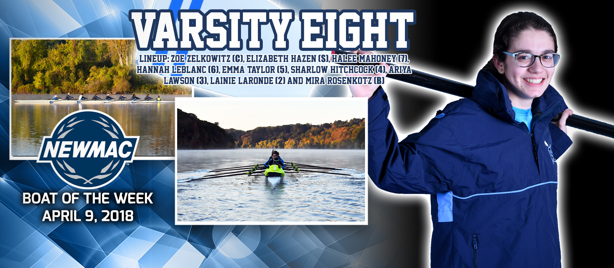 Graphic promoting the Lyons Rowing Boat of the Week, which garnered the honors after tough competition last weekend. Pictured are two action photos as well as a posed photo of rower Halee Mahoney.