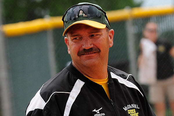 Head softball coach Phil Smith, who adds director of athletics facilities to his duties, smiles after winning the 2012 CC Championship � 2012 David Sinclair/McDaniel College