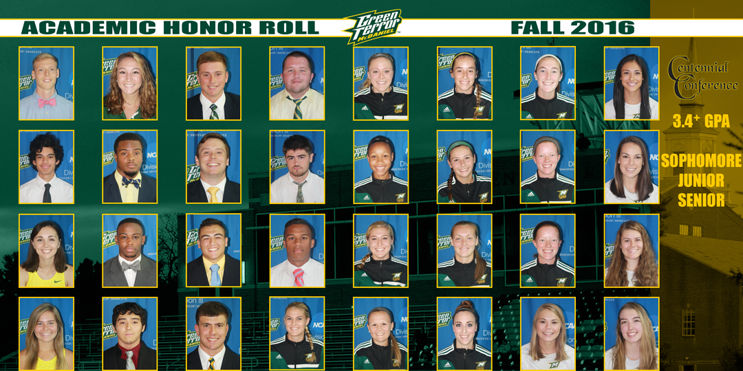 McDaniel places 32 on Fall Academic Honor Roll
