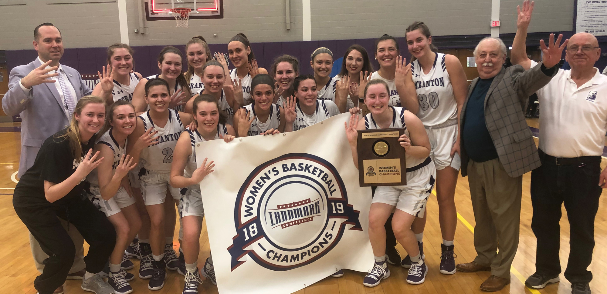 The University of Scranton women's basketball team captured their fourth straight Landmark Conference championship on Sunday in their 68-48 win over Elizabethtown inside the Long Center.