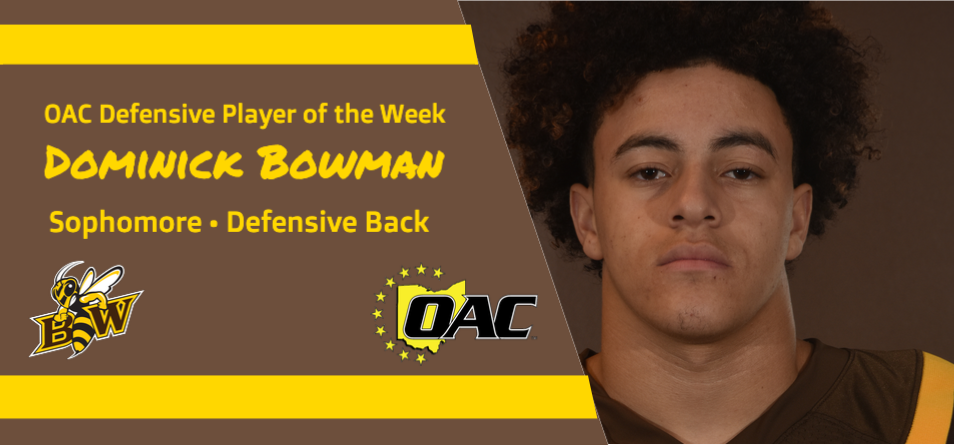 Bowman Garners First Career OAC Football Weekly Honor
