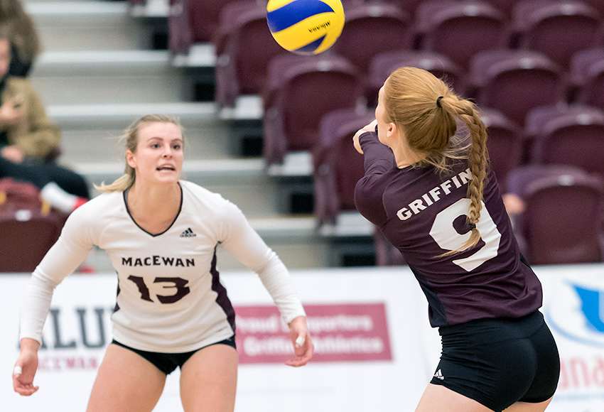 Cassidy Kinsella looks for a pass from Karly Edgar during a recent game. She led the Griffins with 10 kills, but they fell 3-0 at Manitoba on Friday night (Chris Piggott photo).
