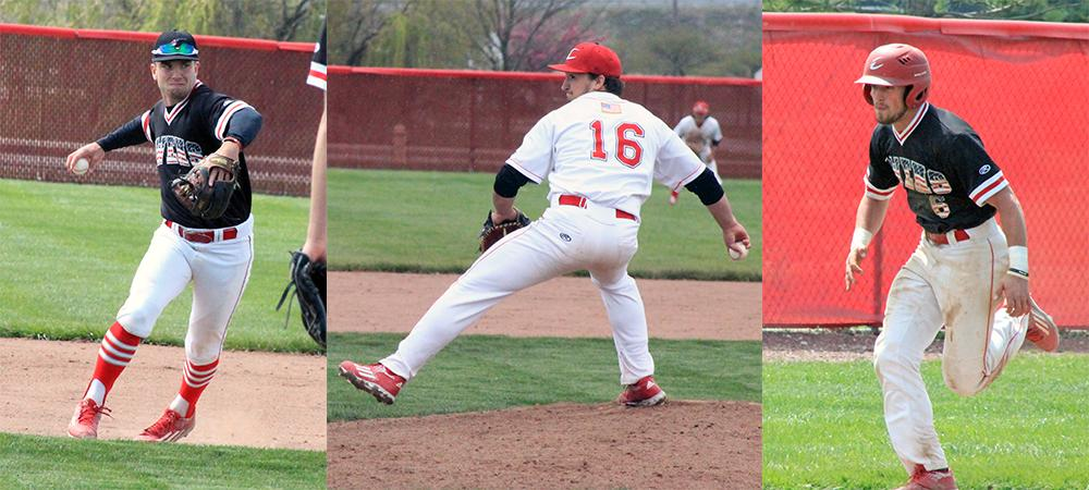 Ty Suntken, Jake Wojciechowski and Casey Gose (L to R) played pivotal roles in Owens taking three of four from Lakeland this weekend. Photos by Nicholas Huenefeld/Owens Sports Information