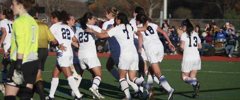 The Brandeis Women's Soccer team advanced to the second round of the 2010 NCAA tournament (photo by Mike Lovett)