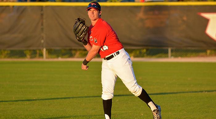 Matt Piatt started a game-saving double play and scored the winning run Polk State beat Lake-Sumter 2-1. (Photo by Tom Hagerty, Polk State.)