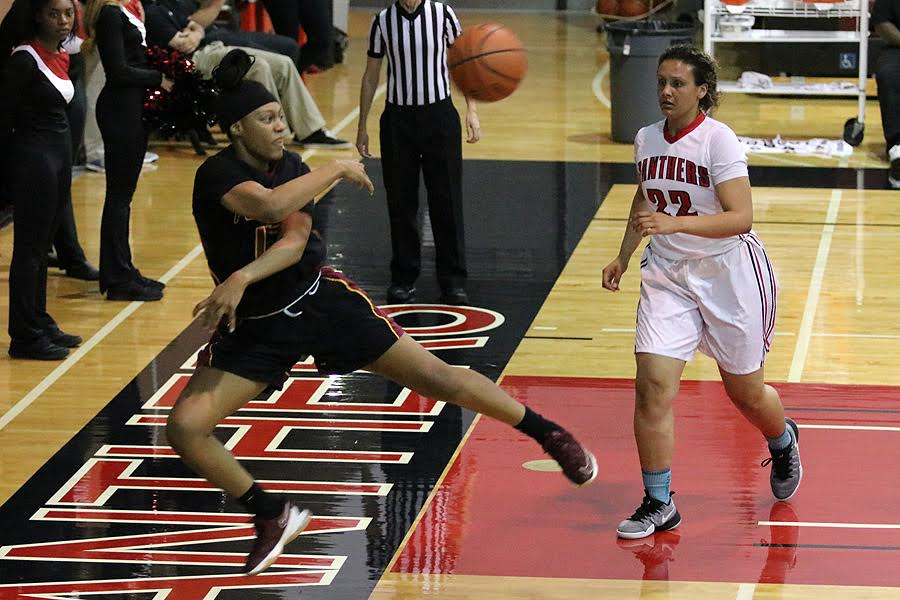 Sophomore forward Kandace Payne saves the ball from going out of bounds during PCC's win at Chaffey College Friday night, photo by Richard Quinton.