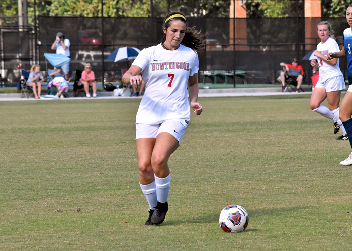Alexis Louk scored Huntingdon's first goal in a 4-0 win over Berea on Wednesday in the first round of the USA South tournament.