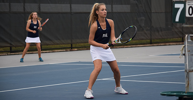 Brooke Adams '21 and Mary Angle '21 compete in doubles in a match versus Lafayette College on Hoffman Courts in October 2017.