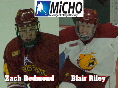 Blair Riley and Zach Redmond Earn Michigan College Hockey Honors