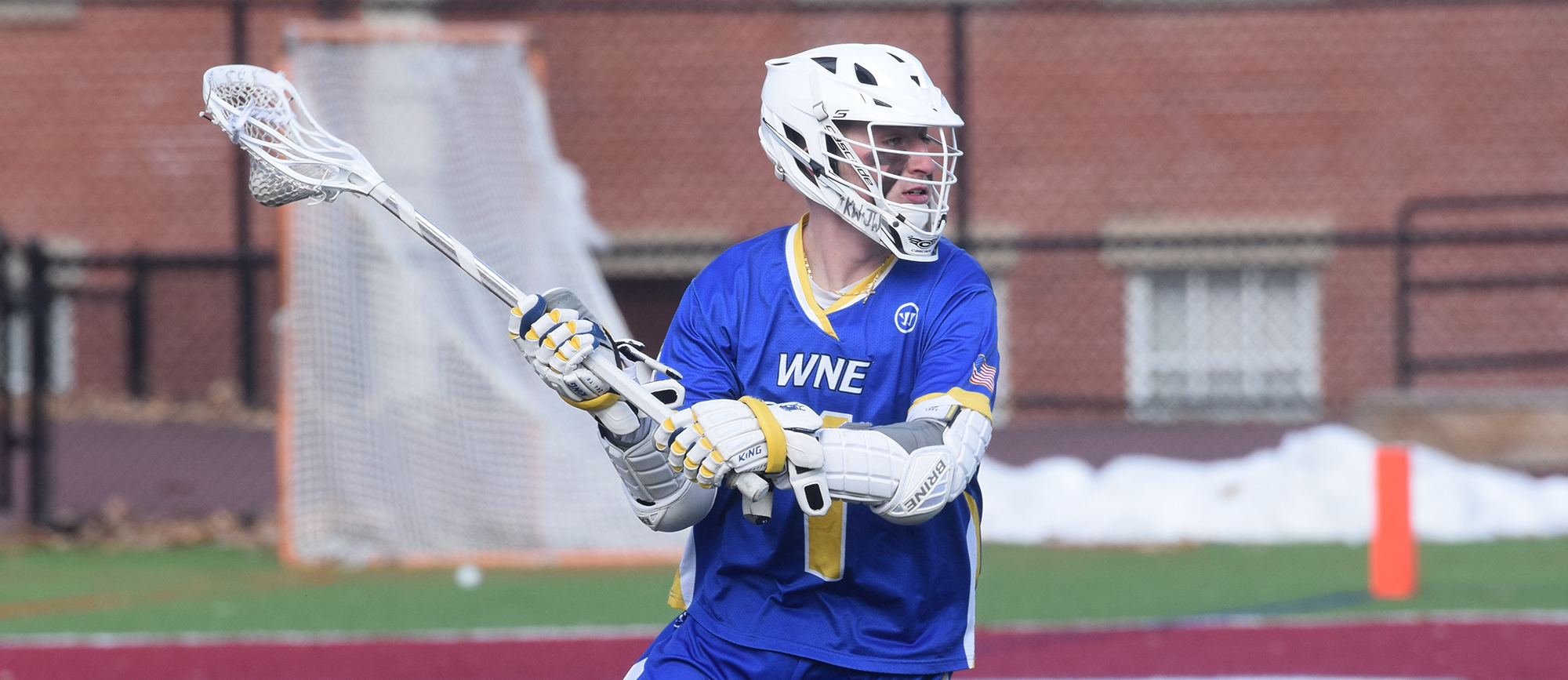 Senior Mikey Wood scored three goals in Western New England's 12-9 win at UNE on Saturday. (Photo by Rachael Margossian)