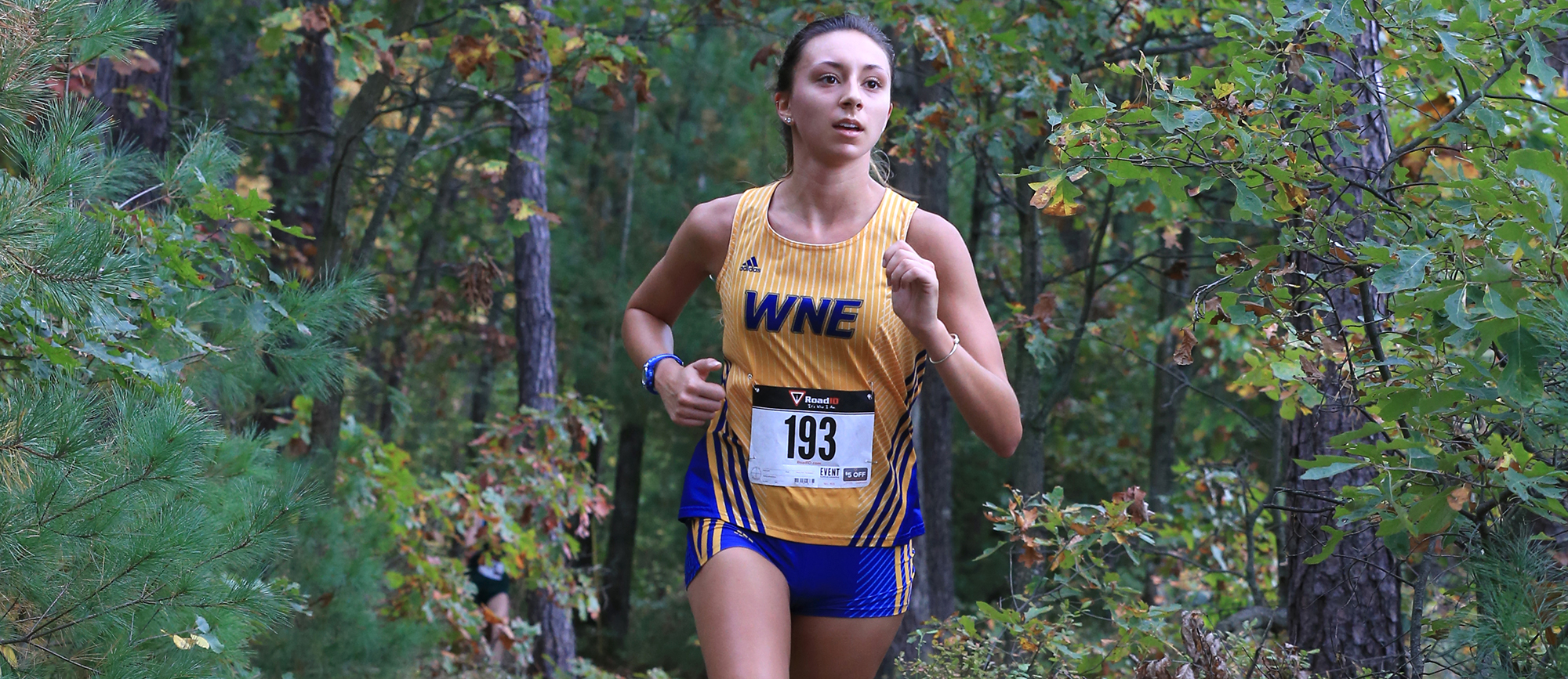 Junior Meagan Dias earned All-CCC honors for the second consecutive season with her seventh place finish (24:57.8) at the CCC Championship on Saturday (Photo by Doug Steinbock).