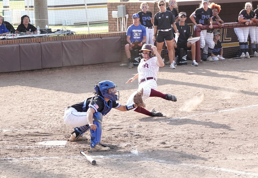 Pearl River right fielder Alyssa Pinero slides home during PRCC's 9-3 defeat to Copiah-Lincoln in the first elimination game of the Region XXIII Tournament Thursday, May 16, 2019 in Poplarville, Miss. (KRISTI HARRIS/PRCC ATHLETICS)