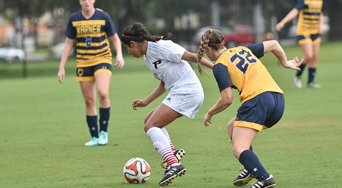 Kathryn Huapaya scored twice in the first three minutes of the second help to help the Eagles erase a 3-0 deficit. (Photo by Tom Hagerty, Polk State.)