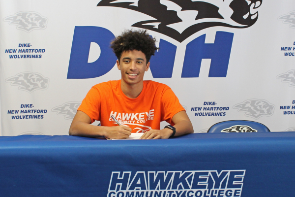 Dike-New Hartford Senior Isaiah Woodley Signs with RedTail Track and Field