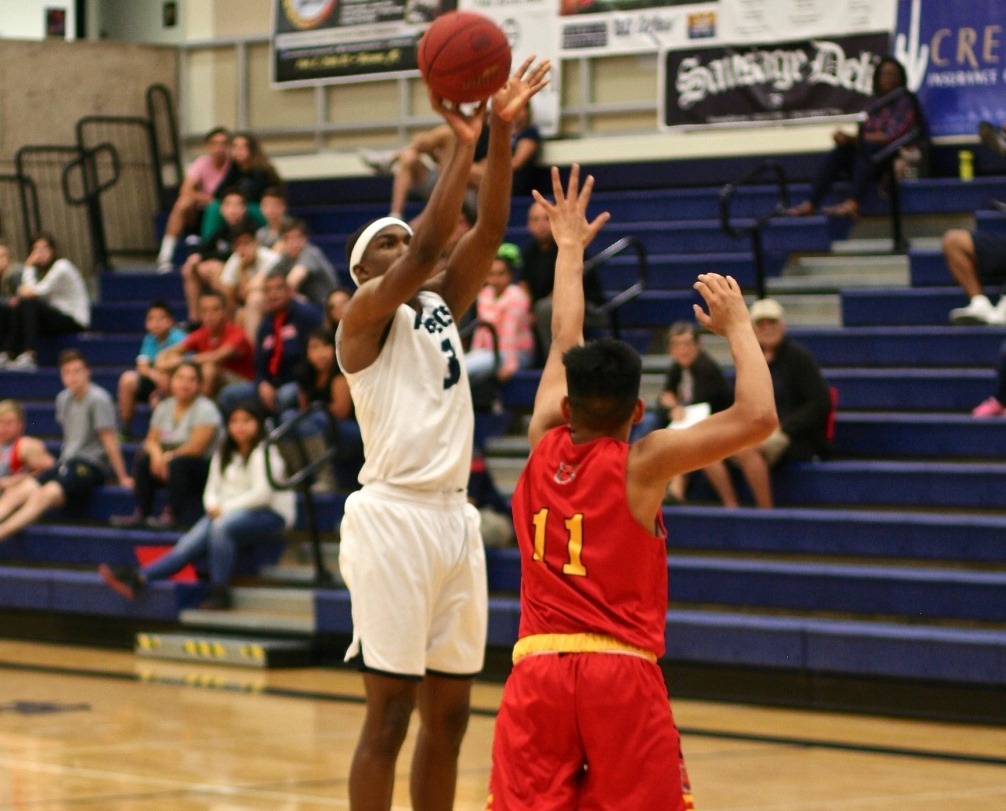 Sophomore Keven Biggs scored a team-high 22 points as the Aztecs men's basketball team upset No. 7 Odessa College 97-90 on Friday at the West Campus. The Aztecs improved to 3-0 on the season. Photo by Stephanie Van Latum.