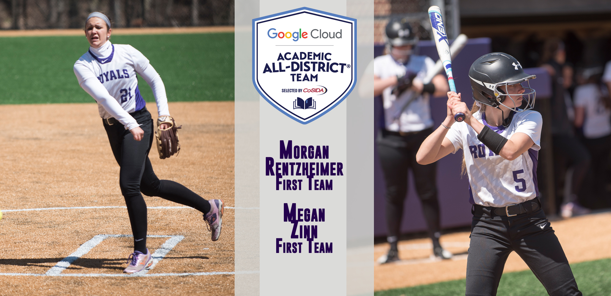 Morgan Rentzheimer and Megan Zinn received CoSIDA Academic All-District honors on Thursday.