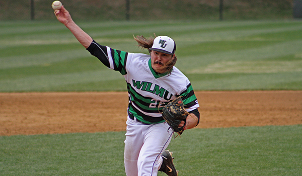 Copyright 2017; Wilmington University. All rights reserved. Photo of Chuck Delagol who threw six shutout innings of one-hit baseball in game two, taken by Frank Stallworth.