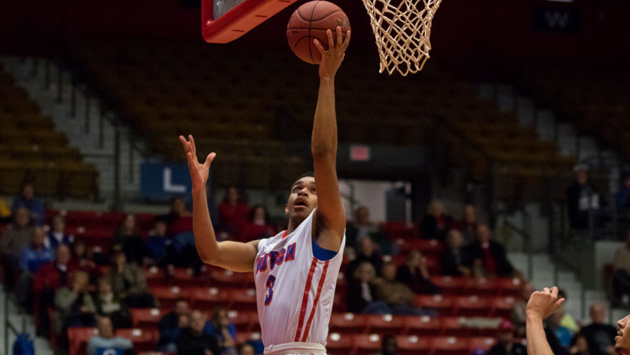 Tiylar Cotton was one of six Blue Dragons to score in double figures in No. 1 Hutchinson's 89-65 victory over Colby on Wednesday at the Sports Arena (Allie Schweizer/Blue Dragon Sports Information).