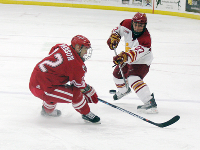 Defenseman Brett Wysopal produced the game-winning goal in FSU's 3-1 victory over Nebraska-Omaha.  (Photo by The Pioneer)