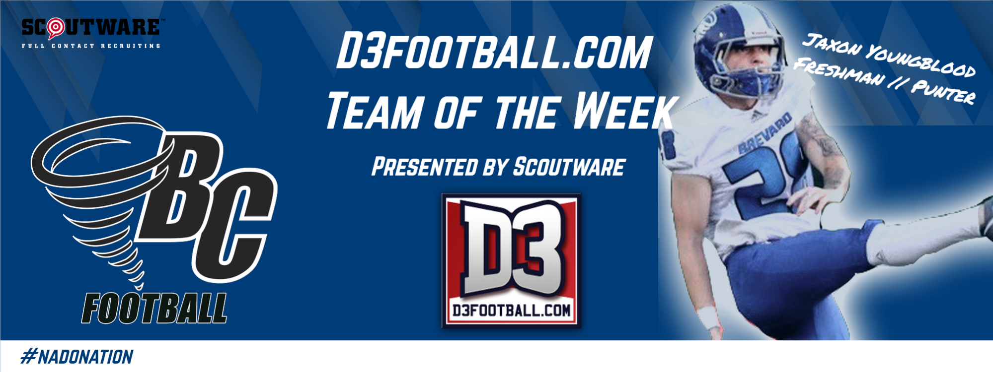 Brevard's Jaxon Youngblood Selected to D3football.com Team of the Week
