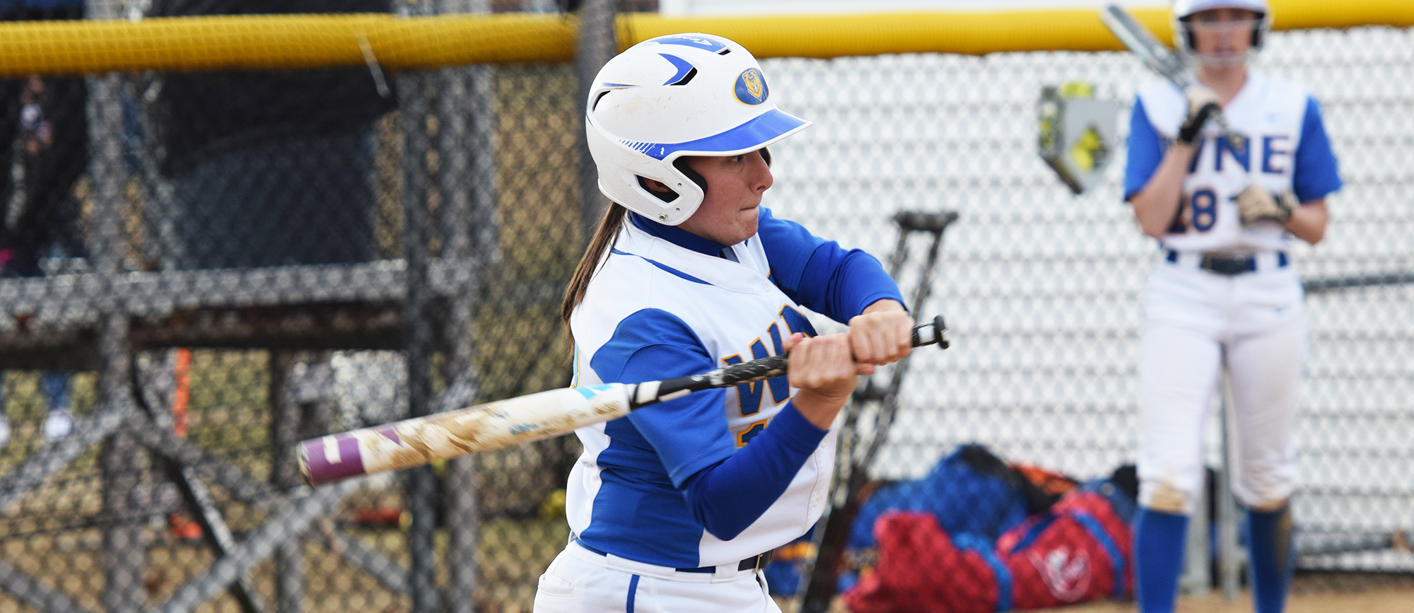 Freshman Allie Buzzeo recorded four hits on Wednesday as WNE split a non-conference doubleheader with Keene State. (Photo by Rachael Margossian)