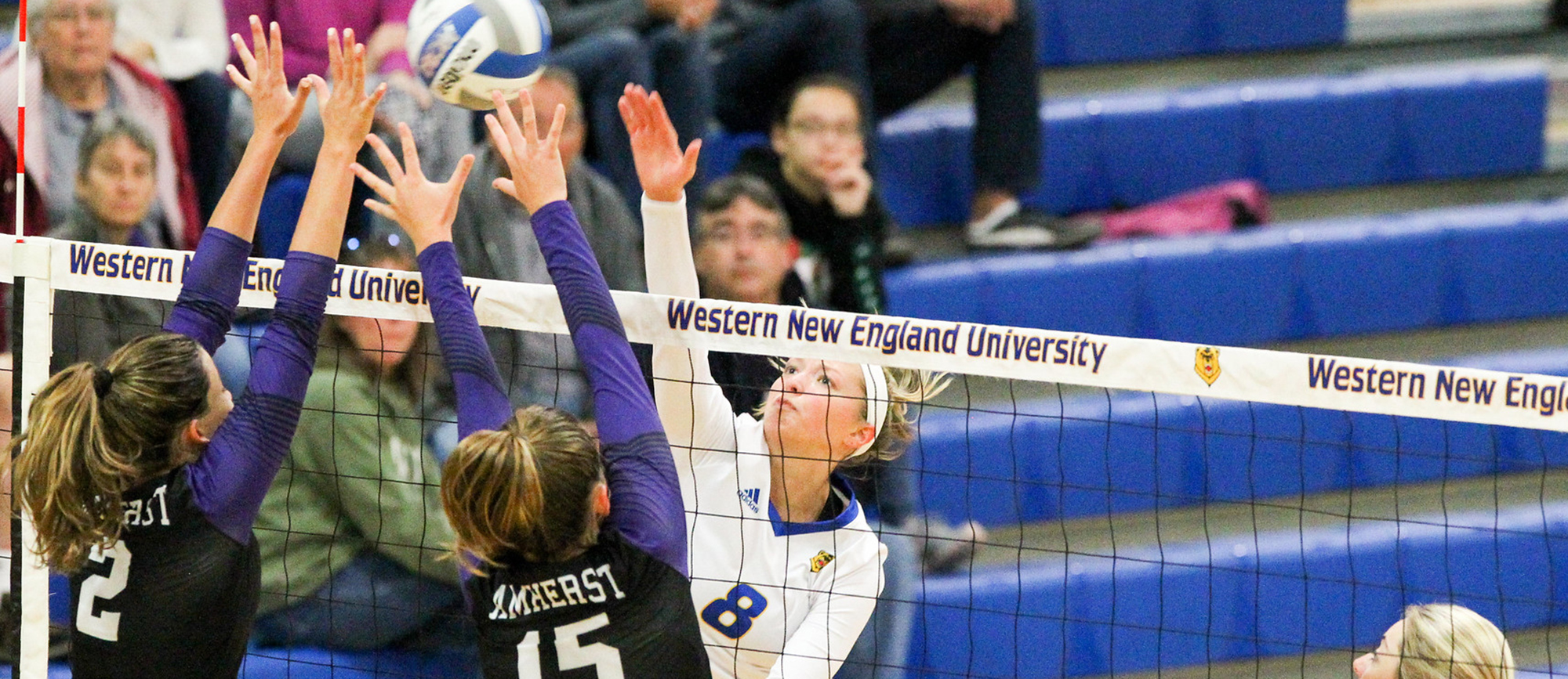 Senior Ashley Matthews recorded a career-high 20 kills in Western New England's 3-2 win over Framingham State on Tuesday night. (Photo by Chris Marion)