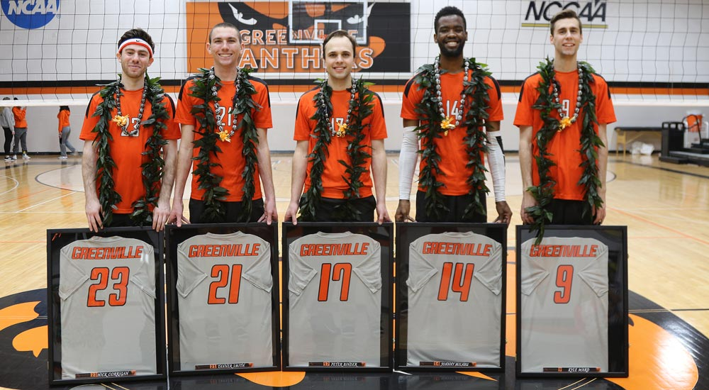 Men's volleyball honors five seniors; falls to Mt. St. Joseph
