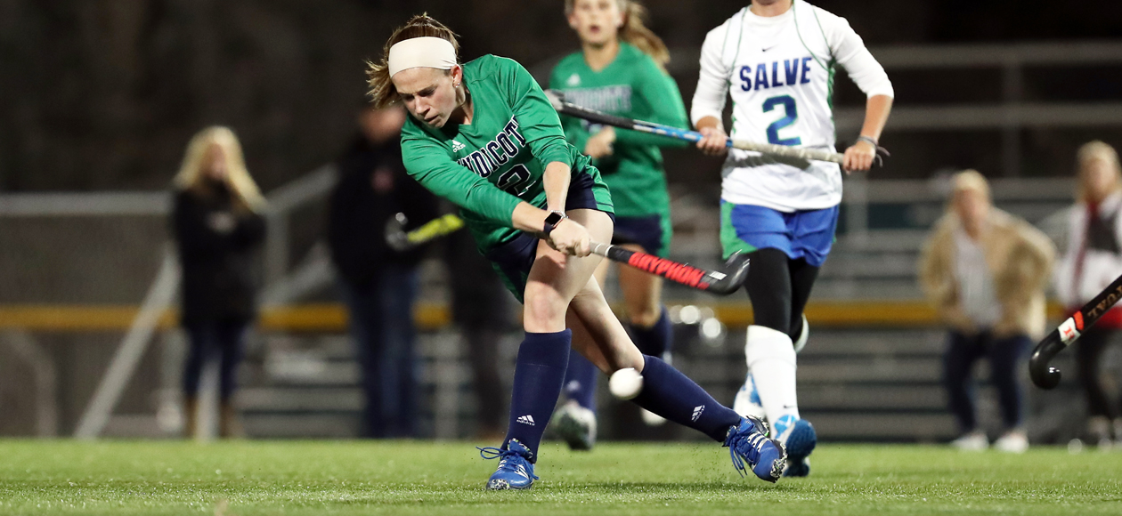 Emily Hirtle rockets a shot for a goal against Salve Regina.