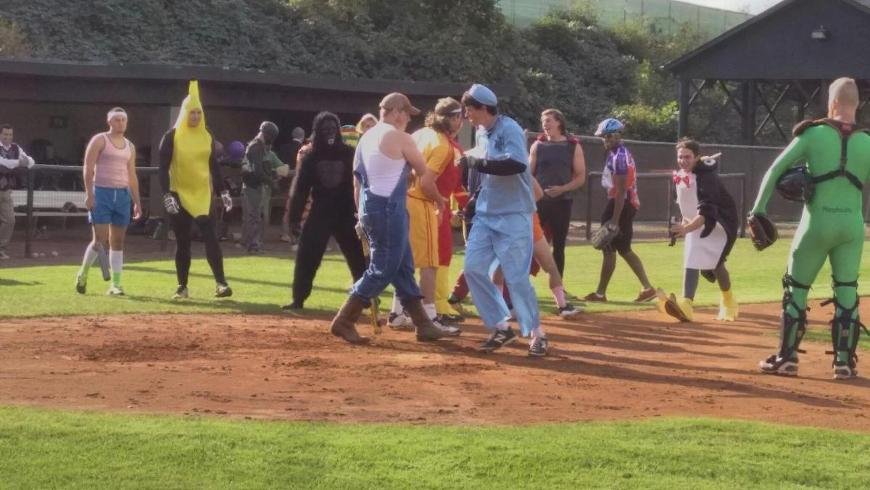 baseball plays halloween costume game on anderson field