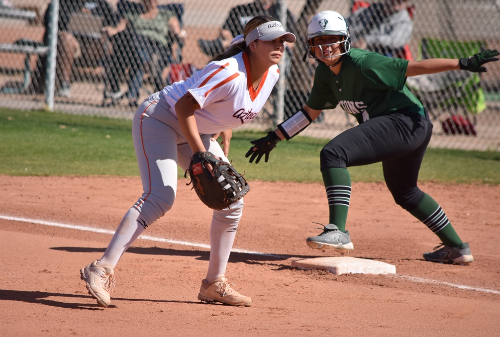 Freshman Mya Cabral (Pueblo HS) went 4 for 4 with two RBIs and a run scored in the first game but the Aztecs dropped their doubleheader at Arizona Western College. The Aztecs are now 24-10 overall and 15-9 in ACCAC conference play. Photo by Ben Carbajal