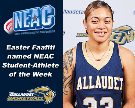 Gallaudet's Easter Faafiti earns a record fifth NEAC Student-Athlete of the Week award