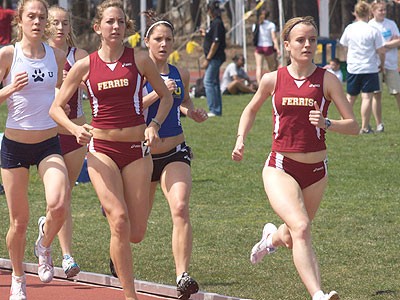 Ferris State's Tina Muir (right) automatically qualified for the national championships