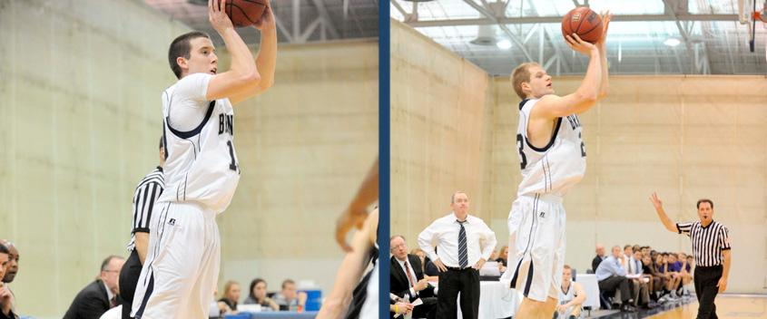 Ben Bartoldus '14 and Vytas Kriskus '12 led the charge with 5 3-pointers each against Bates (photos by Sportspix/Mike Tureski)