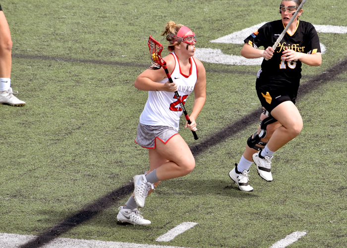 Kaylee Andrews had six goals, one assist, eight draw controls and three ground balls in Saturday's win over Montreat.