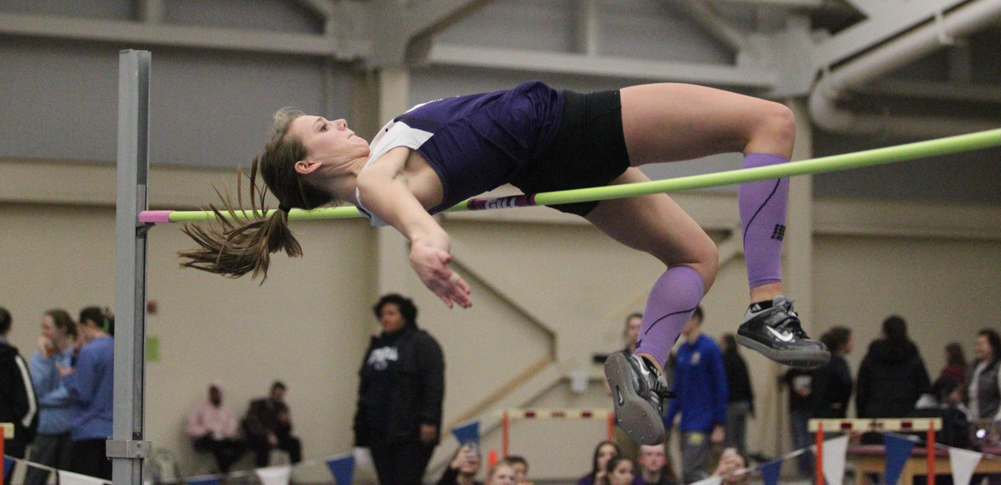 Caroline Banas finished second in the high jump and 15th in the long jump on Saturday for the Royals at the Moravian Indoor Invitational.