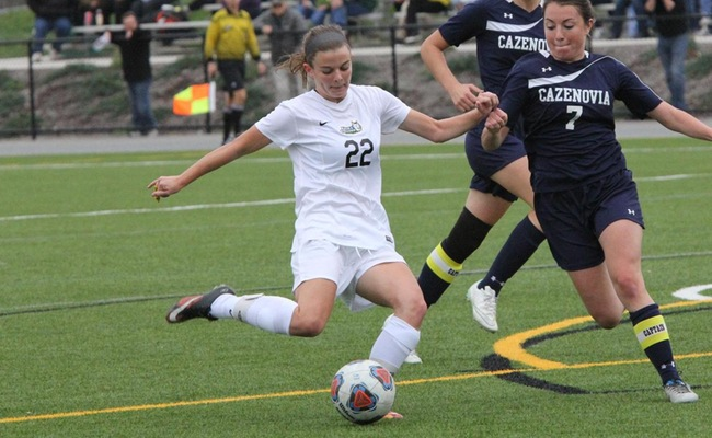 Emily McGuigan (22) scored her second career overtime winner on Friday against Utica College