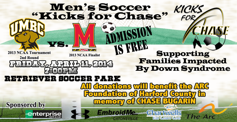 "UMBC Men's Soccer To Host Maryland In Second Annual ""Kicks for Chase"" on April 11"