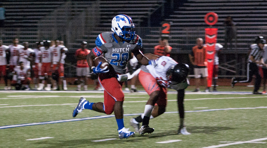 Montai Ellis breaks loose for a 31-yard touchdown run Thursday night against RPA at Gowans Staidum. Ellis was one of 11 Blue Dragons to score touchdowns in an 82-0 win over the Wildcats. (Casey Bailey/Blue Dragon Sports Information)