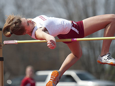 Senior Emily Cross takes part in the high jump on Saturday (Photo by Ed Hyde)