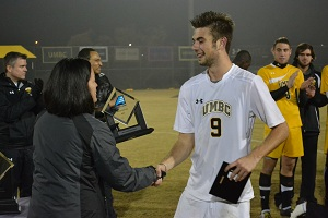 Pete Caringi III scored twice, added an assist and earned AEC Tournament MOP honors.