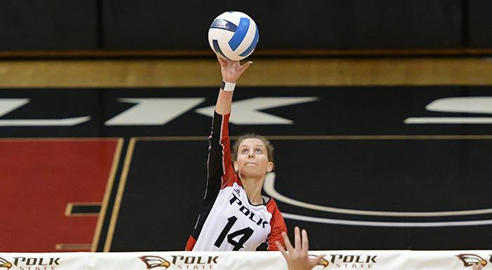 Chiara Bosetti led the Eagles with 18 kills in a 3-2 win over Daytona State. (Photo by Tom Hagerty, Polk State.)