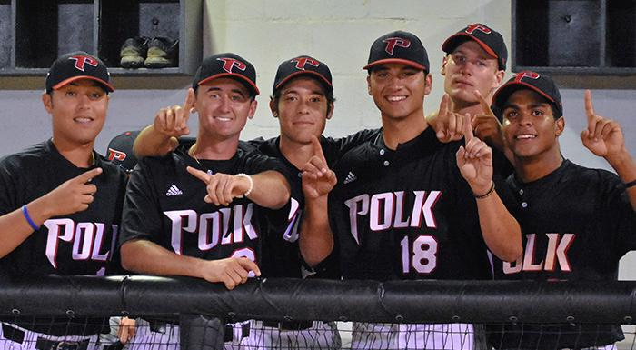 Jonathan Bermudez, Jacob Kelley, Zach Schneider, Joe Strzelecki, Zach Biermann, and Yeison Gomez celebrate after Strzelecki's complete game helped the Eagles win their sixth straight game. (Photo by Tom Hagerty, Polk State.)