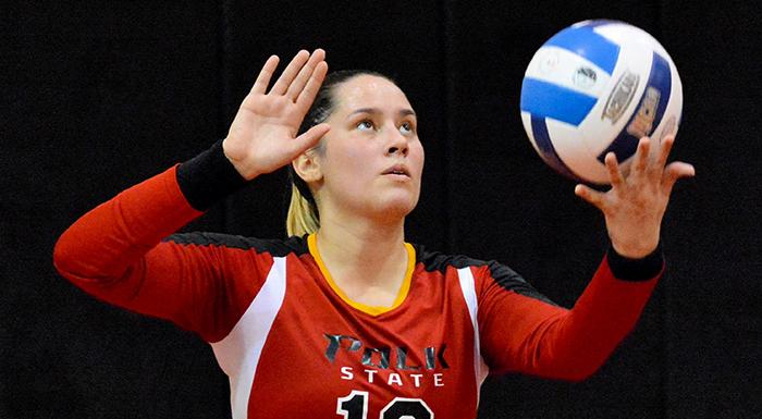 Elisabeth Piroli had 26 assists and 15 digs against Indian River State College. (Photo by Tom Hagerty, Polk State.)