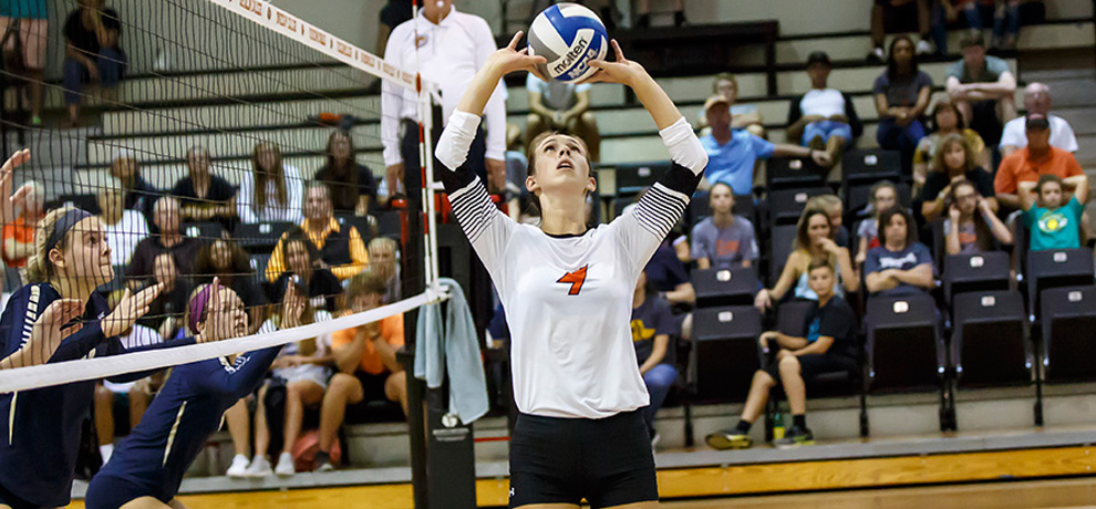 Shannon Murphy recorded her 9th double-double of the season in Tusculum's 3-2 SAC win over Queens (photo by Chuck Williams)