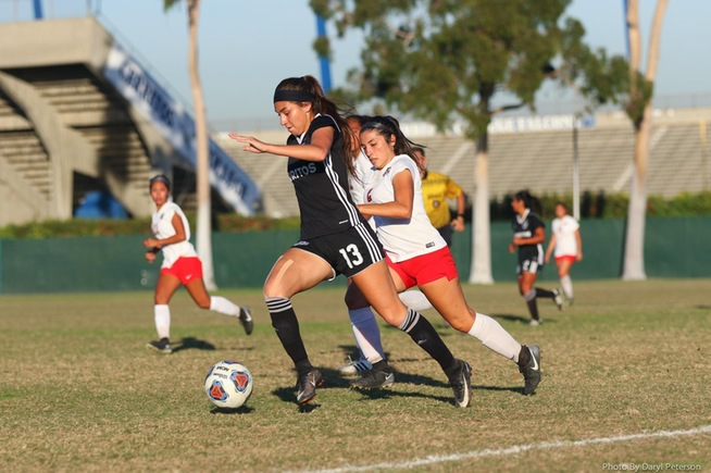 Stephanie Nava scored the first goal of the game for the Falcons in their 2-1 win