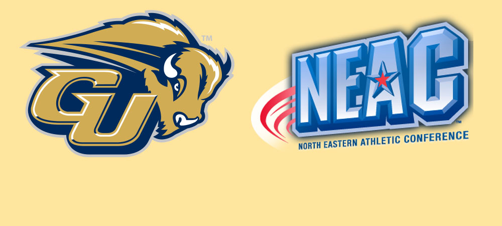 The Gallaudet University GU Bison athletic logo is on the left hand side of the image. On the right hand side is the North Eastern Athletic Conference (NEAC) logo. Both logos are large in size and are placed on a buff yellow background.