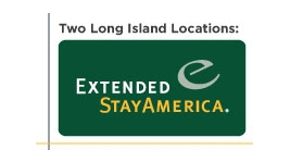 Extended Stay America Inc. logo. Two Long Island locations.