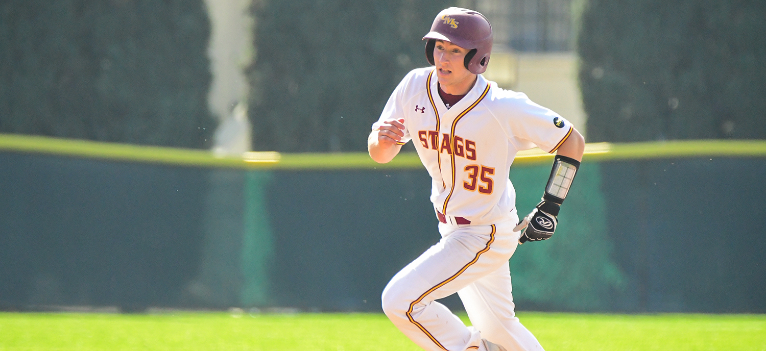 Patrick Gavin notched one of four hits for the Stags in Friday's game against Redlands. (photo credit: Alicia Tsai)
