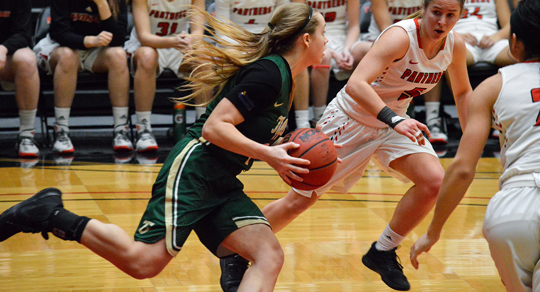 Kiley May led the Dragons with 18 points, eight boards, and five assists in Tiffin's 71-64 victory.