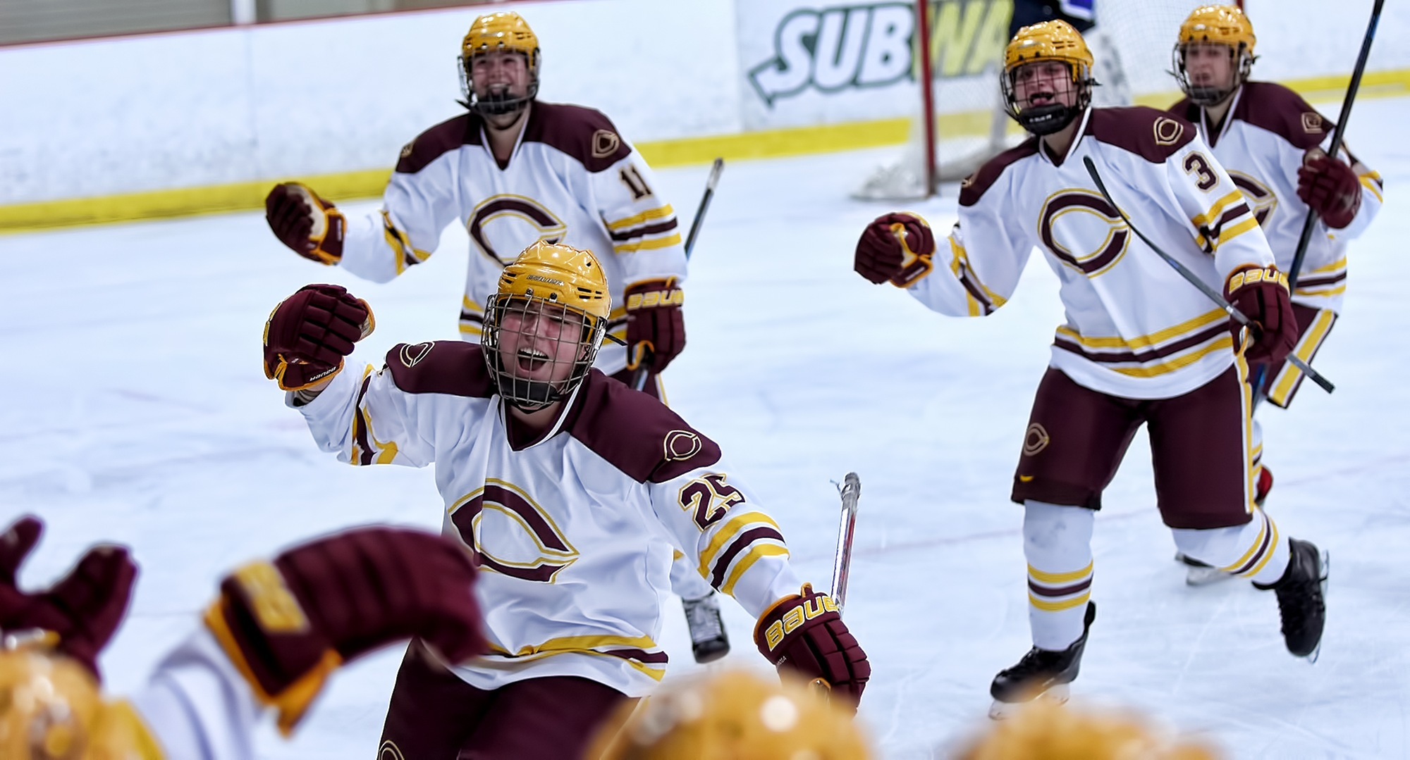 Sophomore Anna Ballweber celebrates her game-winning goal in the Cobbers' 1-0 win over Finlandia on Saturday.